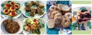 La Sibilla, il pranzo: montanarine, zuppa di cicerchie con crostini di pane, insalata con portulaga, patate, pomodori, papaccelle, sedano, peperoncini verdi, melanzane sott'olio, biscotti al vino, schiacciata di uva